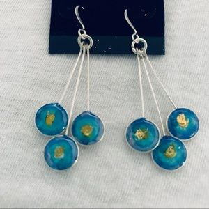 Jewelry - NWT Blue Aqua Gold Silver Dangling Earrings